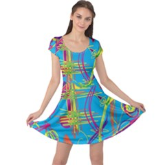Colorful abstract pattern Cap Sleeve Dresses