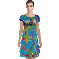 Colorful abstract pattern Cap Sleeve Nightdress