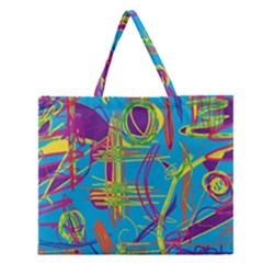 Colorful Abstract Pattern Zipper Large Tote Bag