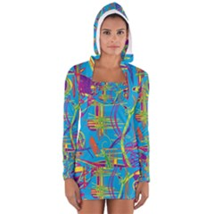 Colorful Abstract Pattern Women s Long Sleeve Hooded T Shirt