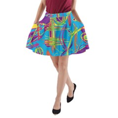 Colorful abstract pattern A-Line Pocket Skirt