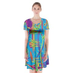 Colorful abstract pattern Short Sleeve V-neck Flare Dress