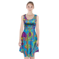 Colorful Abstract Pattern Racerback Midi Dress