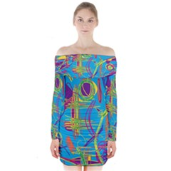 Colorful abstract pattern Long Sleeve Off Shoulder Dress