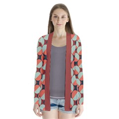 Modernist Geometric Tiles Drape Collar Cardigan