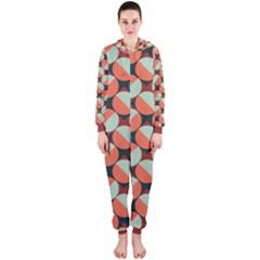 Modernist Geometric Tiles Hooded Jumpsuit (ladies)