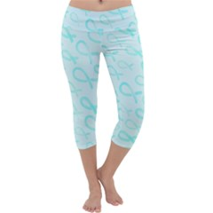 Turquoise Watercolor Awareness Ribbons Capri Yoga Leggings