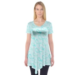 Turquoise Watercolor Awareness Ribbons Short Sleeve Tunic