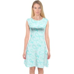 Turquoise Watercolor Awareness Ribbons Capsleeve Midi Dress