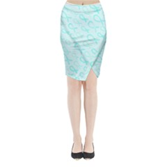 Turquoise Watercolor Awareness Ribbons Midi Wrap Pencil Skirt