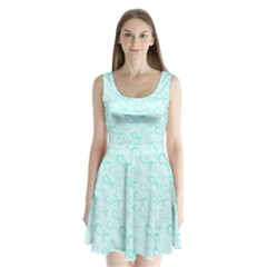 Turquoise Watercolor Awareness Ribbons Split Back Mini Dress