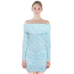 Turquoise Watercolor Awareness Ribbons Long Sleeve Off Shoulder Dress