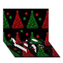 Decorative Christmas trees pattern LOVE Bottom 3D Greeting Card (7x5)