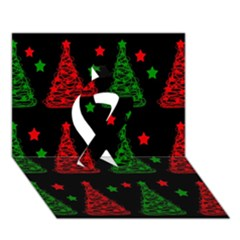 Decorative Christmas trees pattern Ribbon 3D Greeting Card (7x5)