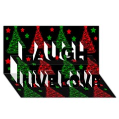 Decorative Christmas trees pattern Laugh Live Love 3D Greeting Card (8x4)
