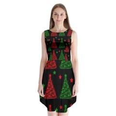 Decorative Christmas trees pattern Sleeveless Chiffon Dress