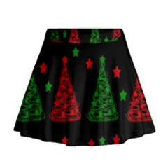 Decorative Christmas trees pattern Mini Flare Skirt