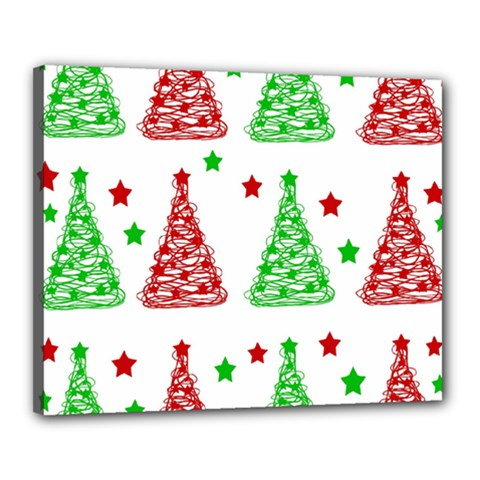 Decorative Christmas trees pattern - White Canvas 20  x 16