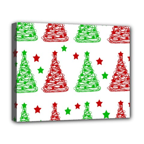 Decorative Christmas trees pattern - White Deluxe Canvas 20  x 16