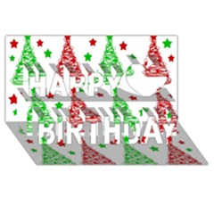 Decorative Christmas trees pattern - White Happy Birthday 3D Greeting Card (8x4)