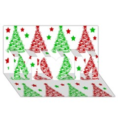 Decorative Christmas trees pattern - White MOM 3D Greeting Card (8x4)