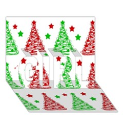 Decorative Christmas trees pattern - White GIRL 3D Greeting Card (7x5)