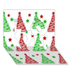 Decorative Christmas trees pattern - White LOVE 3D Greeting Card (7x5)