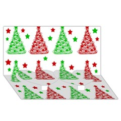 Decorative Christmas trees pattern - White Twin Heart Bottom 3D Greeting Card (8x4)