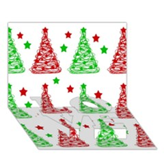 Decorative Christmas trees pattern - White LOVE Bottom 3D Greeting Card (7x5)