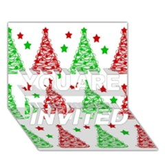 Decorative Christmas trees pattern - White YOU ARE INVITED 3D Greeting Card (7x5)