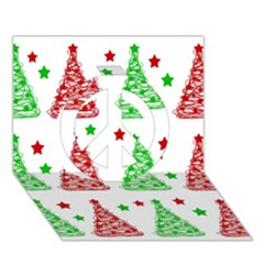 Decorative Christmas trees pattern - White Peace Sign 3D Greeting Card (7x5)