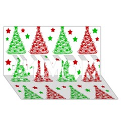 Decorative Christmas trees pattern - White #1 MOM 3D Greeting Cards (8x4)