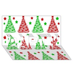 Decorative Christmas trees pattern - White PARTY 3D Greeting Card (8x4)