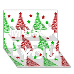 Decorative Christmas Trees Pattern   White Miss You 3d Greeting Card (7x5)