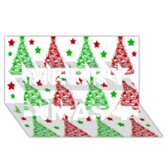 Decorative Christmas trees pattern - White Merry Xmas 3D Greeting Card (8x4)