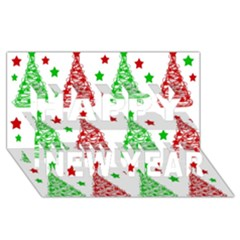 Decorative Christmas trees pattern - White Happy New Year 3D Greeting Card (8x4)