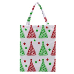 Decorative Christmas trees pattern - White Classic Tote Bag