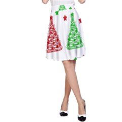 Decorative Christmas Trees Pattern   White A Line Skirt