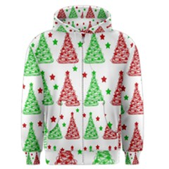 Decorative Christmas trees pattern - White Men s Zipper Hoodie