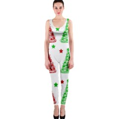 Decorative Christmas trees pattern - White OnePiece Catsuit