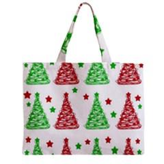 Decorative Christmas trees pattern - White Medium Zipper Tote Bag