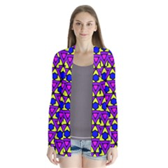 Triangles And Honeycombs Pattern                Drape Collar Cardigan
