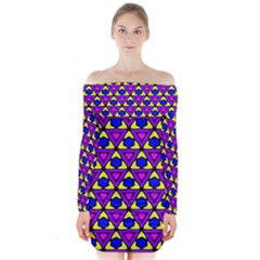 Triangles And Honeycombs Pattern      Long Sleeve Off Shoulder Dress
