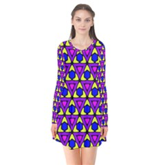 Triangles And Honeycombs Pattern      Long Sleeve V Neck Flare Dress