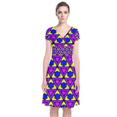 Triangles And Honeycombs Pattern                                                                  Short Sleeve Front Wrap Dress