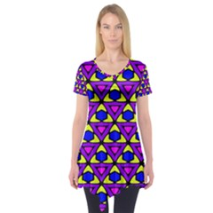 Triangles and honeycombs pattern                            Short Sleeve Tunic