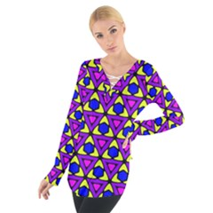 Triangles And Honeycombs Pattern                                                                                                    Women s Tie Up Tee
