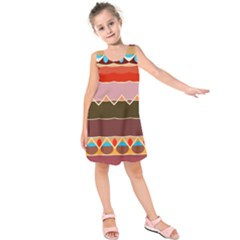 Waves And Other Shapes       Kid s Sleeveless Dress