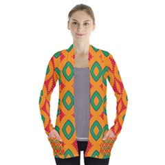 Rhombus And Other Shapes Pattern                  Women s Open Front Pockets Cardigan