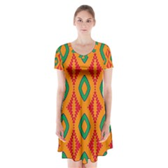 Rhombus And Other Shapes Pattern             Short Sleeve V Neck Flare Dress